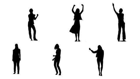 Silhouettes of young people who dance 2 Stock Video Footage