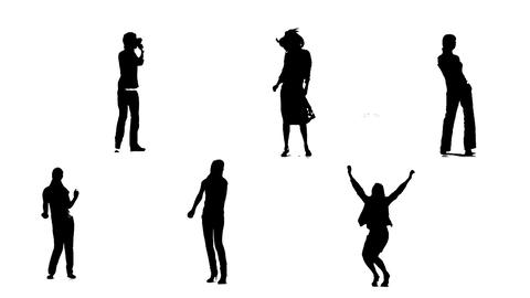 Silhouettes of young people who dance 2 Animation