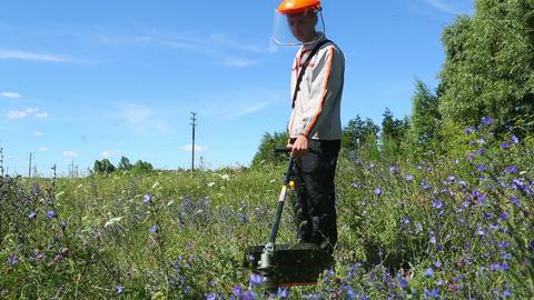 lawn mower worker man cutting grass Footage