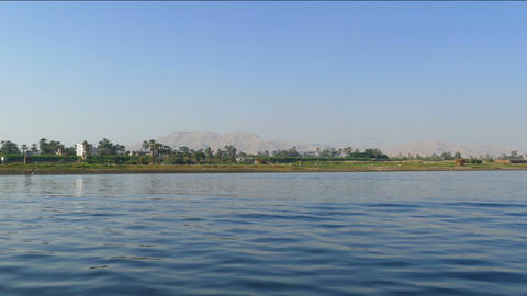 Nile river landscape - view from boat Footage