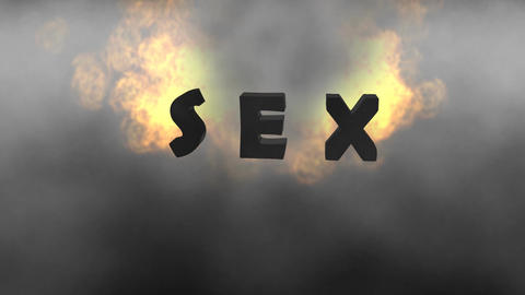 "Fiery Letters, ""Sex"": Looping CG動画素材"