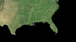 Florida state (USA) extruded on the satellite map  Animation