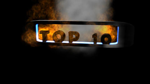 Top Ten: 3D Letters with Flaming Background (Loopi Animation