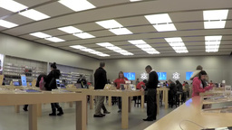 Time lapse of people buying new iphone inside Appl Footage