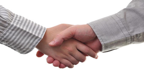 Businessmen and businesswoman shaking hands on whi Footage