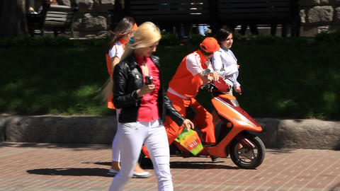 Promoters on motor-scooter Footage