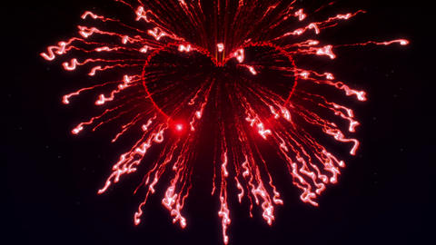 Colorful fireworks with heart in final in the star Animation