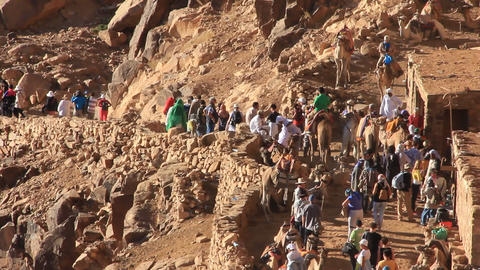 Moses Mountain. Pilgrims. Sinai Peninsula, Egypt stock footage
