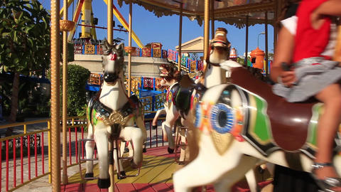 Children On Carousel stock footage