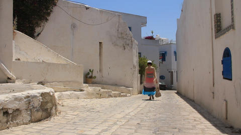 Side street in Sidi Bou Said, Tunisia Live Action