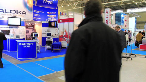 People at medical exhibition Footage