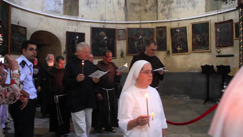 Act of worship in Church of the Nativity in Bethlehem, Israel Footage