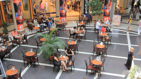 Shopping area with cafe Footage