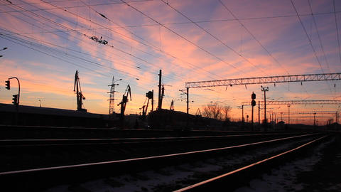 Railway and sunset Live Action