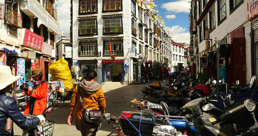 4k Tibetan & Tourist Walking On Famous Barkhor Street In Lhasa,tibet,butter  stock footage
