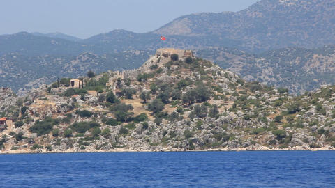 Simena - flooded ancient Lycian city.Kekova island.Ruins of antique architecture Footage