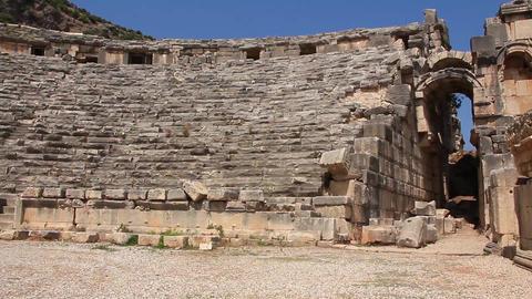 Ancient Greek-Roman Amphitheatre. Myra, Old Name - Demre, Turkey stock footage