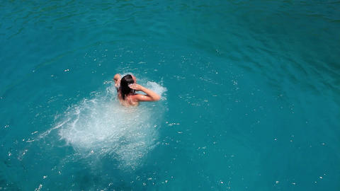 Bathing in blue lagoon Footage
