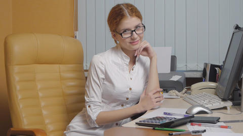 Business Woman Working At The Office stock footage