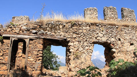 Ruins of old fortress wall, Alanya, Turkey Footage