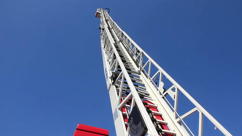 Fire-engine with big fire escape staircase Footage