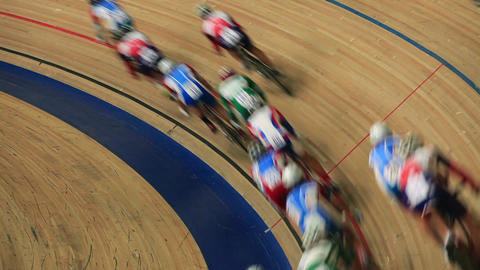 Indoor track cycling race Live Action