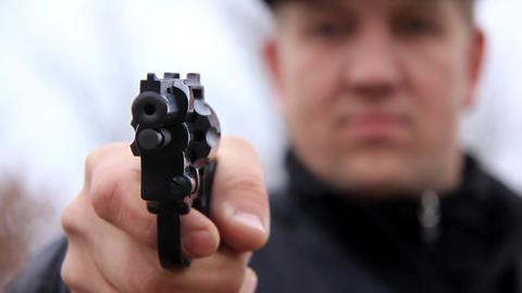 Man shooting with revolver Footage