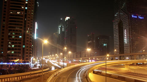 Dubai city traffic at night, United Arab Emirates Footage