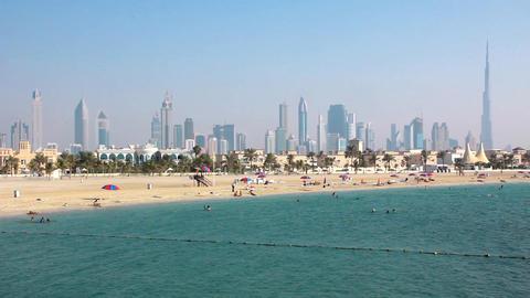 Jumeirah beach, Dubai downtown and Burj Khalifa, United Arab Emirates Footage