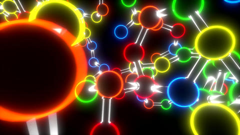 Molecule Neon Ball And Stick Model Fly Through Ato stock footage