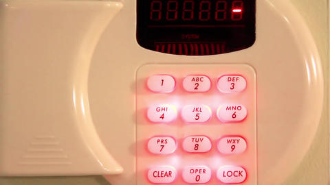 Combination numeric lock on safe Live Action