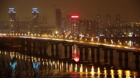 Paton Bridge in Kiev, Ukraine Footage