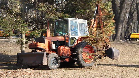 Red Tractor stock footage