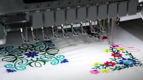 Computer programmable embroidery machine Footage
