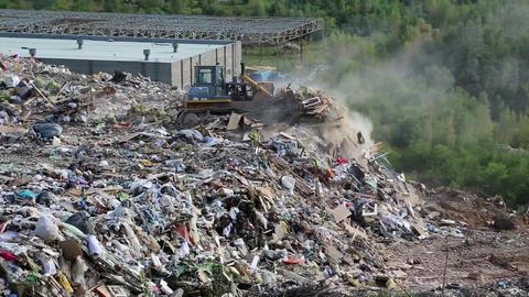 Bulldozer on landfill Footage