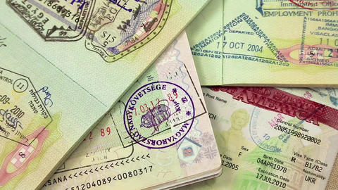 International passports with visas Footage