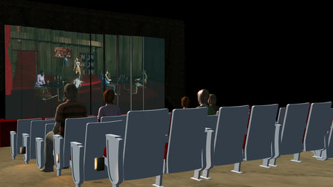 Inside Movie Theater (Side Shot): Animated+ Loopin Stock Video Footage