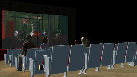 Inside Movie Theater (Side Shot): Animated+ Loopin, Stock Animation