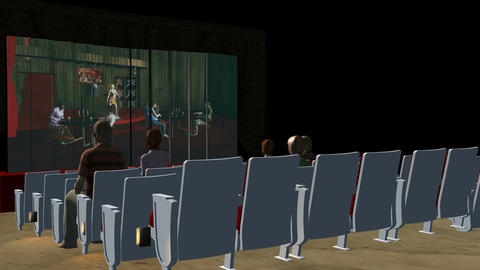 Inside Movie Theater (Side Shot): Animated+ Loopin stock footage
