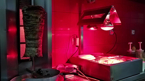 Doner kebab in restaurant kitchen Footage
