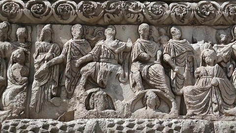 Bas-relief on the ancient Arch of Galerius in Thessaloniki, Greece Footage