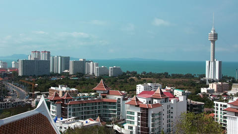 Panorama View Of Pattaya City And Gulf Of Siam, Th stock footage