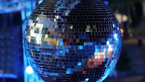 Spinning Glitterball On Dancefloor stock footage
