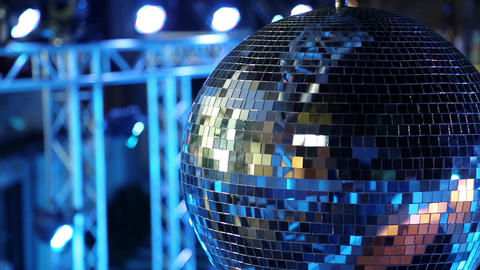 Spinning glitterball on dancefloor Footage
