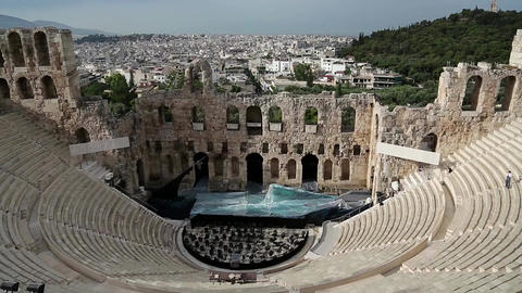 Ancient theatre near Parthenon temple, Athenian Acropolis, Greece Footage