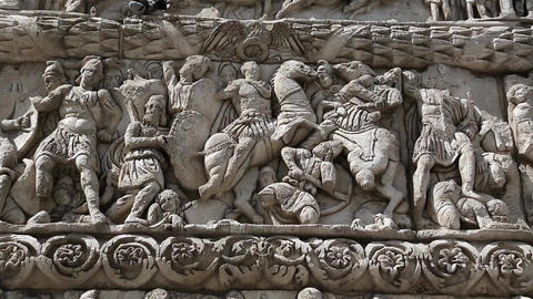 Bas-relief On The Ancient Arch Of Galerius In Thes stock footage