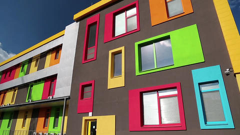 Building with many-coloured windows Footage