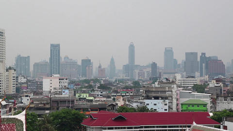 Panorama of Bangkok downtown. View from Golden Mountain,Wat Saket Footage