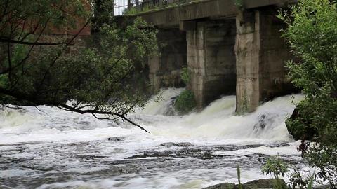 Water flow under the bridge Footage