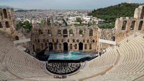 Ancient theatre near a Parthenon temple, Athenian Acropolis, Greece Footage